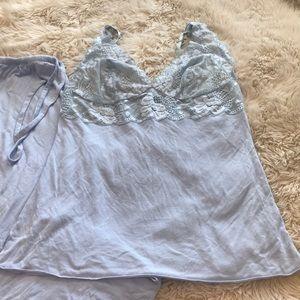 Natori light blue lace pajama set. Size L